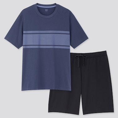 Men Airism Short-Sleeve Set (Online Exclusive), Navy, Medium