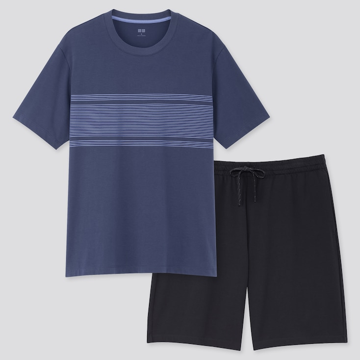 Men Airism Short-Sleeve Set (Online Exclusive), Navy, Large