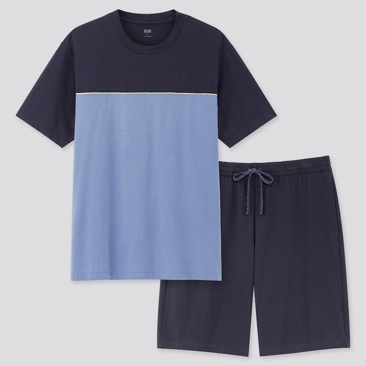 Men Airism Short-Sleeve Set (Online Exclusive), Blue, Large