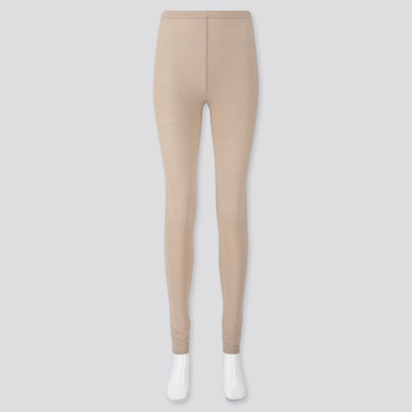 Women Soft Touch Extended Length Leggings, Beige, Medium