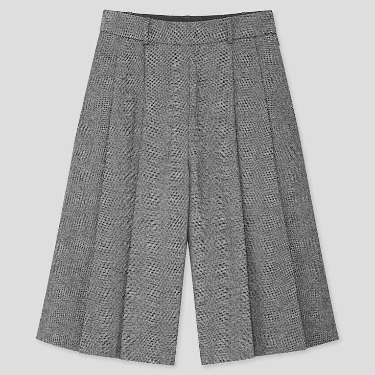 WOMEN HIGH-WAISTED CULOTTES PANTS, DARK GRAY, large