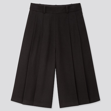 WOMEN HIGH-WAISTED CULOTTES PANTS, BLACK, medium
