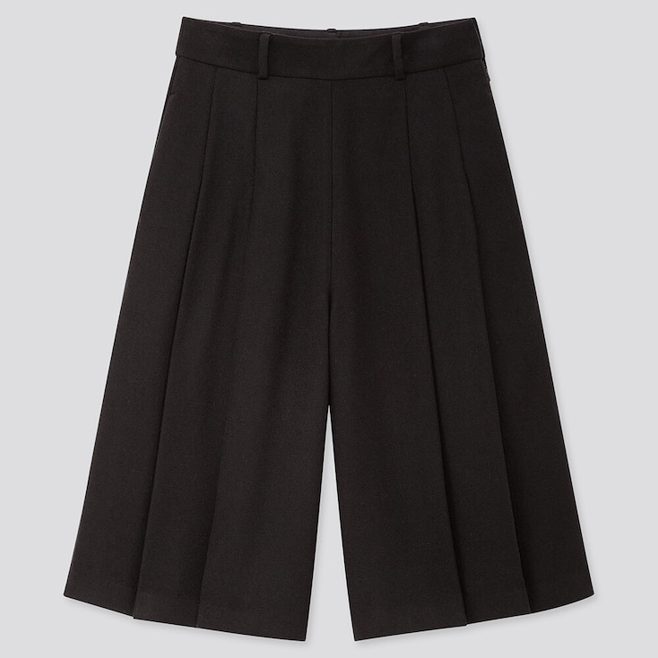 Women High-Waisted Culottes Pants, Black, Large