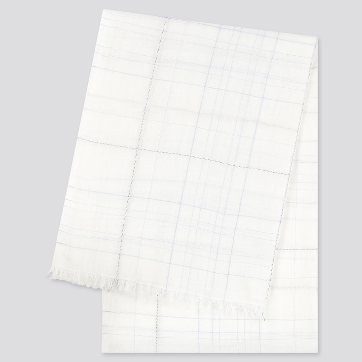 Women Cotton Linen Checked Stole, Off White, Large