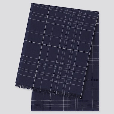Women Cotton Linen Checked Stole, Navy, Medium