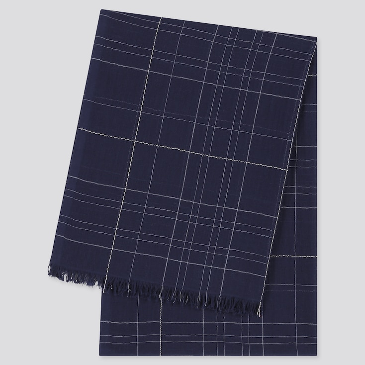 Women Cotton Linen Checked Stole, Navy, Large