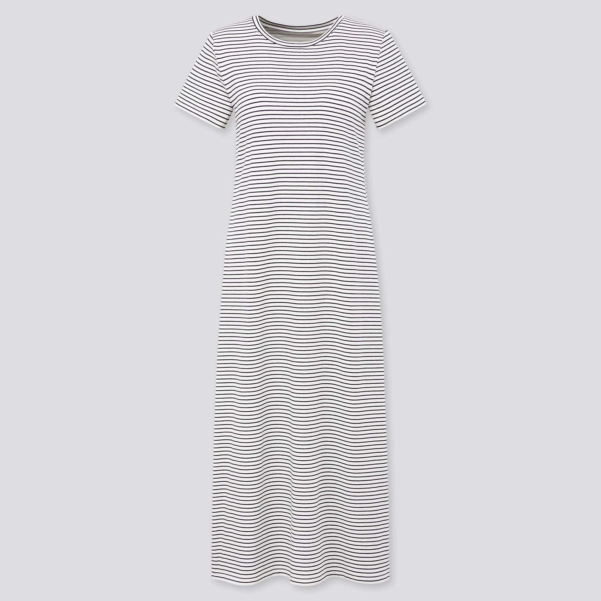Uniqlo women striped short-sleeve long bra dress