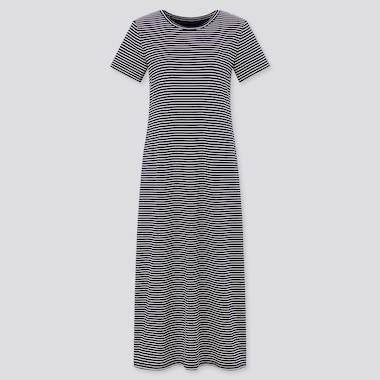 Women Striped Short-Sleeve Long Bra Dress, Navy, Medium