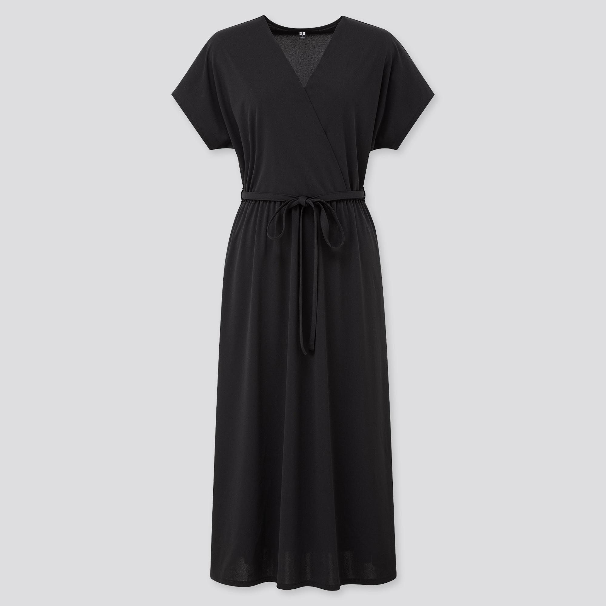 WOMEN CREPE JERSEY SHORT-SLEEVE WRAP DRESS