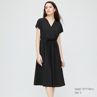 Deals on Uniqlo Womens Crepe Jersey Short-Sleeve Wrap Dress w/ Pockets