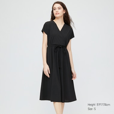 Women Crepe Jersey Short-Sleeve Wrap Dress, Black, Medium