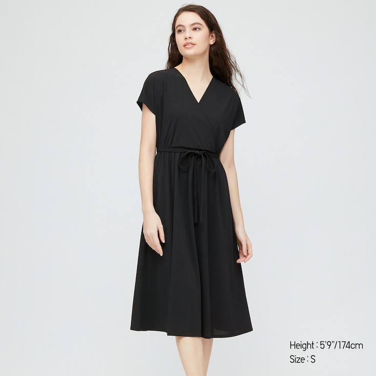 Women Crepe Jersey Short-Sleeve Wrap Dress, Black, Large