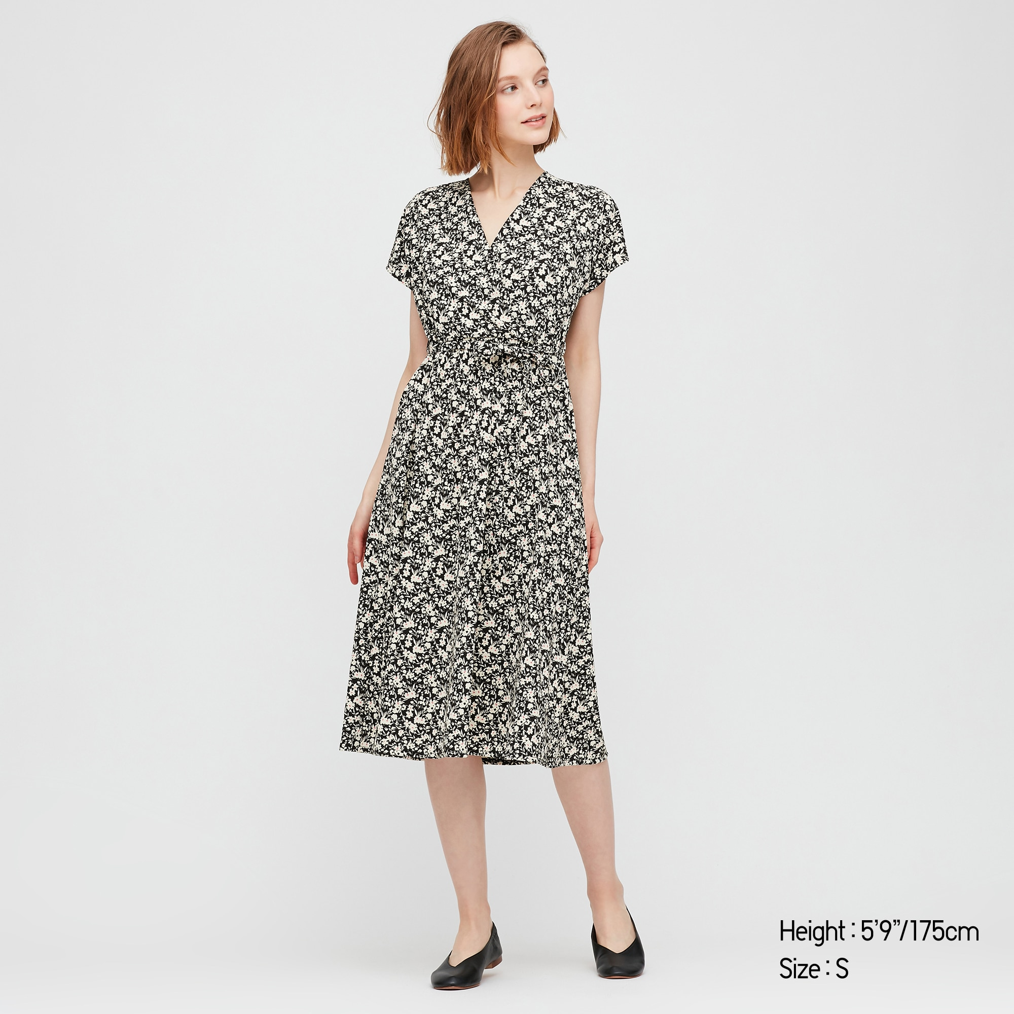 Uniqlo women joy of print crepe jersey wrap dress