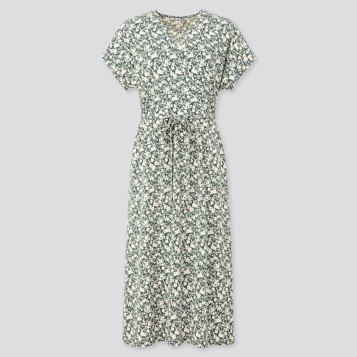 Women Joy Of Print Crepe Jersey Wrap Dress, Green, Large
