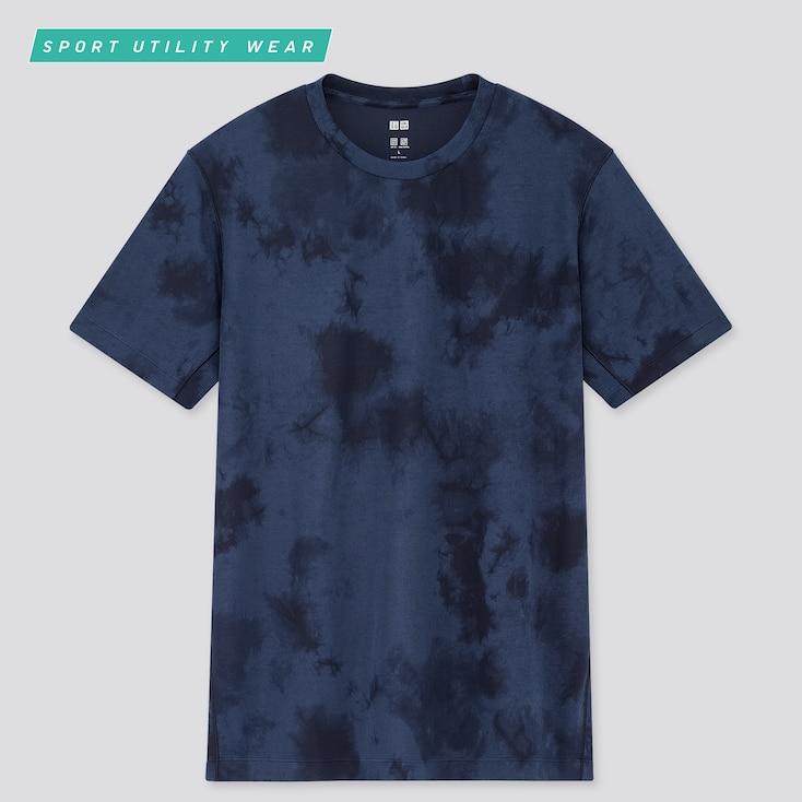 Men Dry-Ex Printed Crew Neck Short-Sleeve T-Shirt, Blue, Large