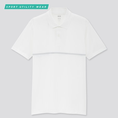 Men Dry-Ex Designed Short-Sleeve Polo Shirt, White, Medium