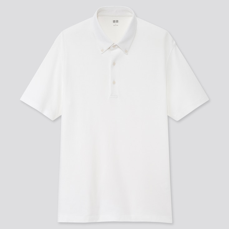 Men Airism Pique Short-Sleeve Polo Shirt, White, Large