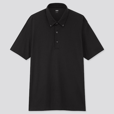 Men Airism Pique Short-Sleeve Polo Shirt, Black, Medium