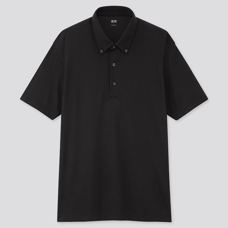 Men Airism Pique Short-Sleeve Polo Shirt, Black, Large