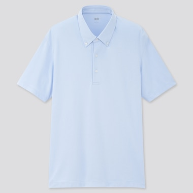 Men Airism Pique Short-Sleeve Polo Shirt, Light Blue, Medium
