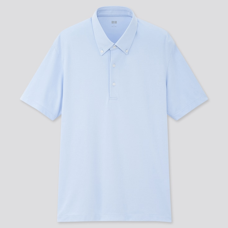 Men Airism Pique Short-Sleeve Polo Shirt, Light Blue, Large