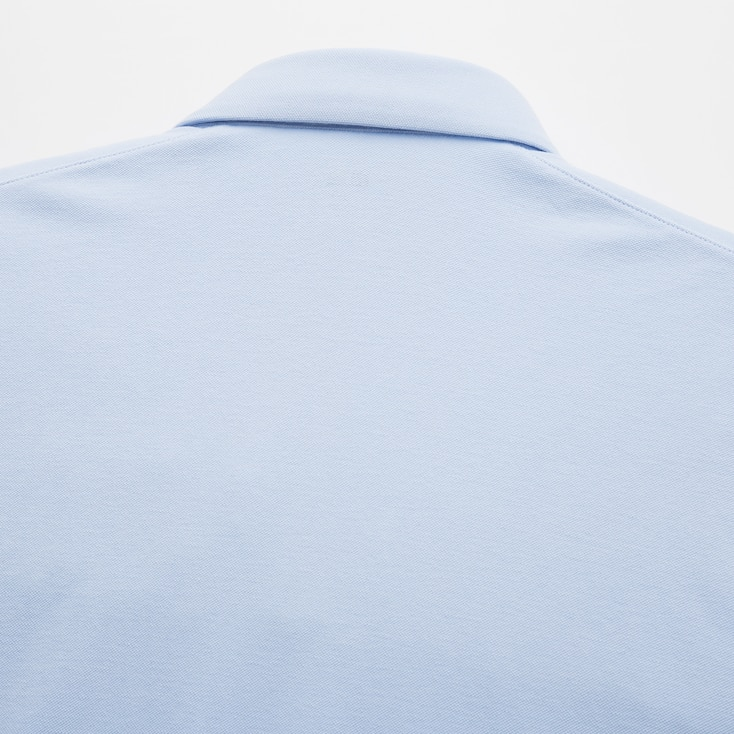 Men Airism Pique Short-Sleeve Polo Shirt, Navy, Large