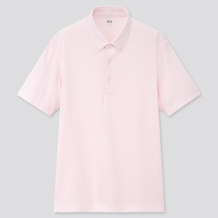 Men Airism Pique Short-Sleeve Polo Shirt, Pink, Large