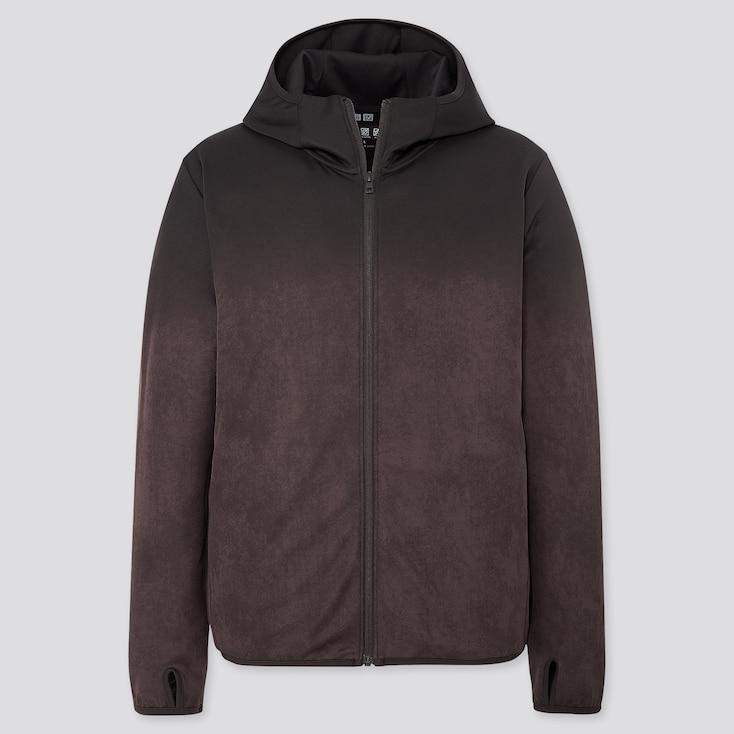 Men Dry-Ex Uv Protection Printed Full-Zip Hoodie, Dark Brown, Large