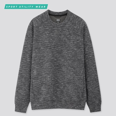 Men Dry Stretch Long-Sleeve Sweatshirt, Dark Gray, Medium