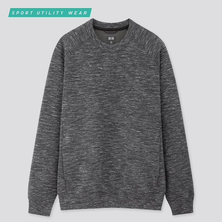 Men Dry Stretch Long-Sleeve Sweatshirt, Dark Gray, Large