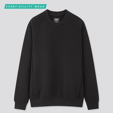 Men Dry Stretch Long-Sleeve Sweatshirt, Black, Medium
