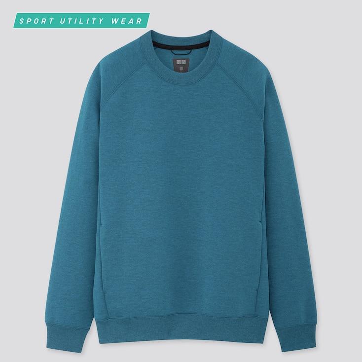 Men Dry Stretch Long-Sleeve Sweatshirt, Blue, Large