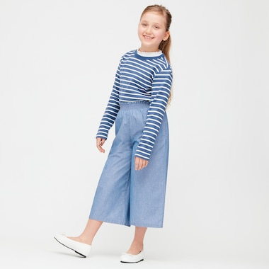 Girls Chambray Wide Leg Cropped Trousers