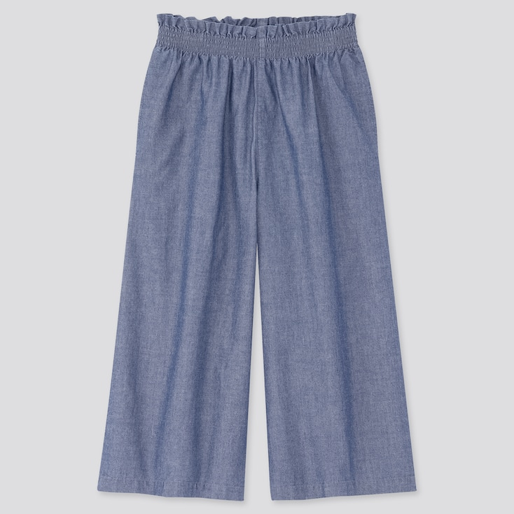 Girls Chambray Wide Cropped Pants, Blue, Large