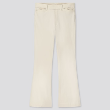 WOMEN FLARE ANKLE PANTS, OFF WHITE, medium