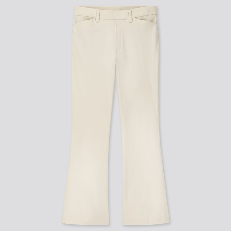 WOMEN FLARE ANKLE PANTS, OFF WHITE, large