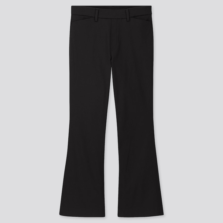 WOMEN FLARE ANKLE PANTS (ONLINE EXCLUSIVE), BLACK, large