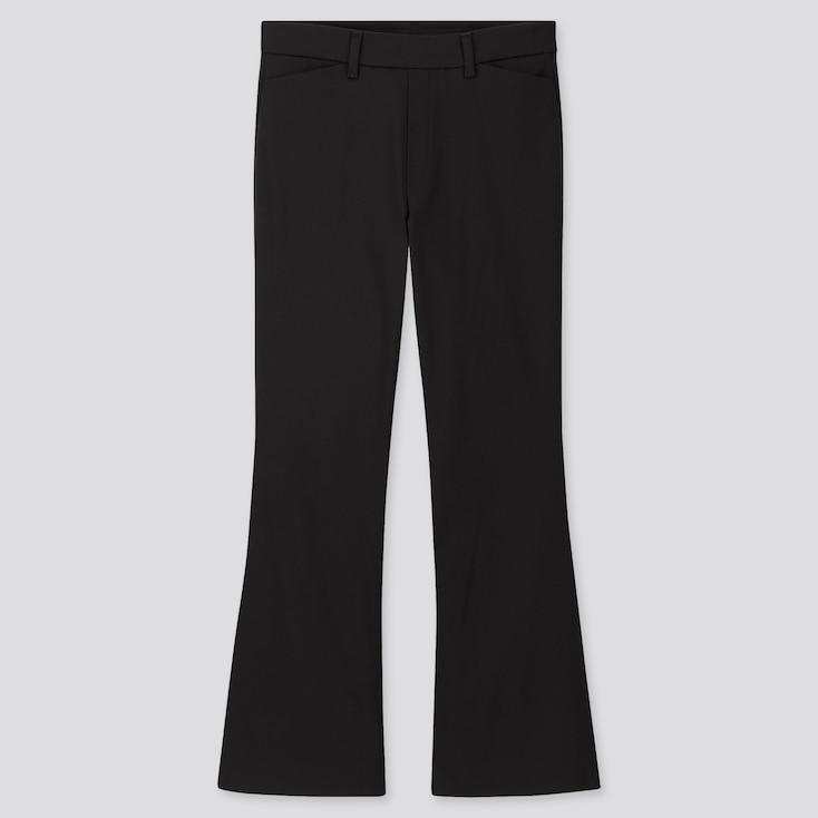 Women Flare Ankle Pants, Black, Large