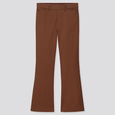 WOMEN FLARE ANKLE PANTS, BROWN, medium