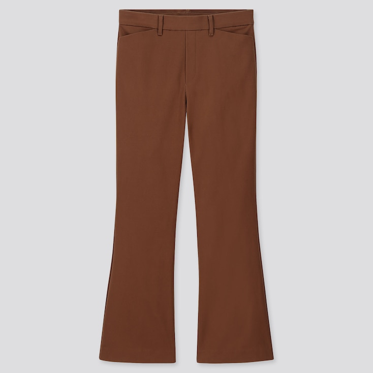WOMEN FLARE ANKLE PANTS, BROWN, large