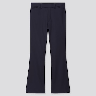 WOMEN FLARE ANKLE PANTS (ONLINE EXCLUSIVE), NAVY, medium