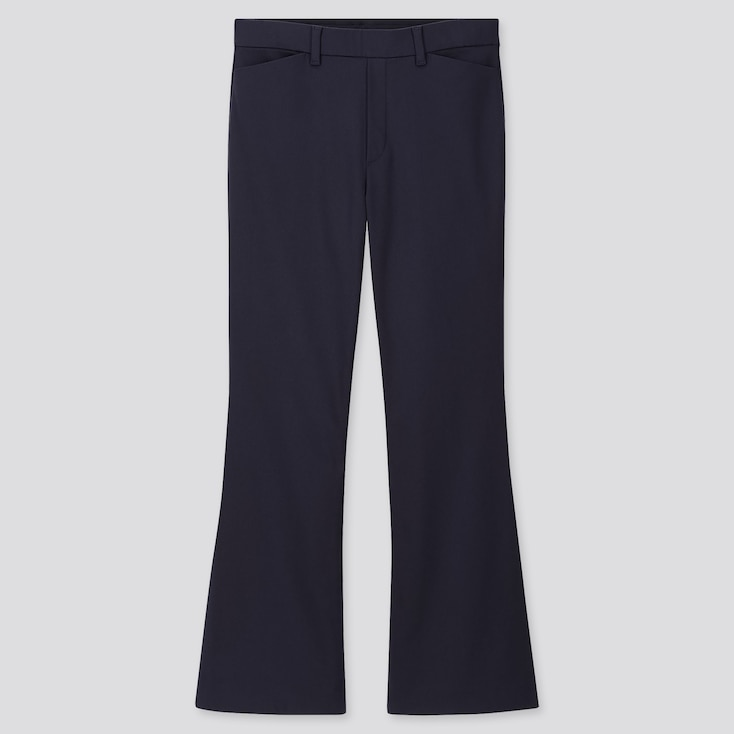 WOMEN FLARE ANKLE PANTS, NAVY, large