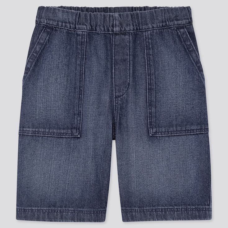 Kids Denim Easy Shorts, Blue, Large