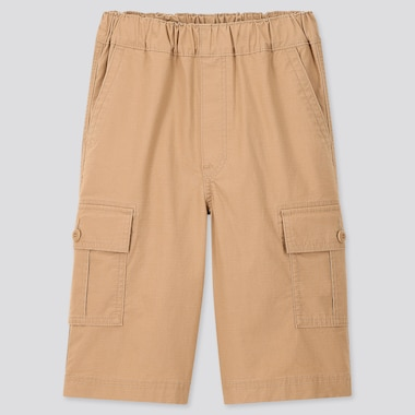 Kids Wide-Fit Cargo Half Pants, Beige, Medium