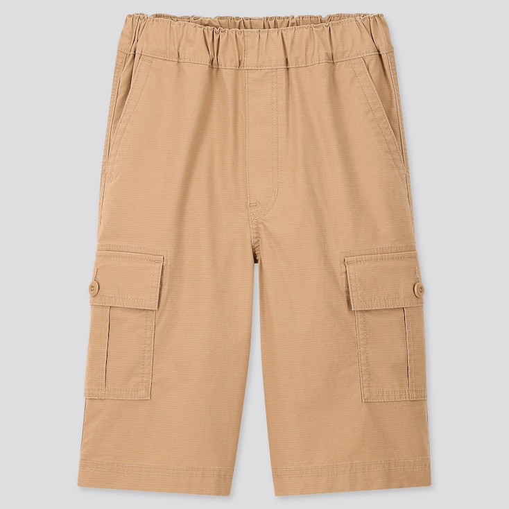 Kids Wide-Fit Cargo Half Pants, Beige, Large