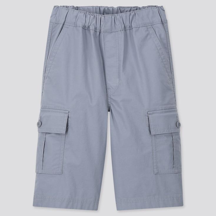 Kids Wide-Fit Cargo Half Pants, Blue, Large