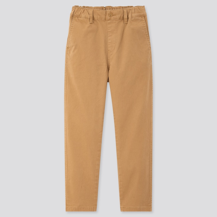 Kids Ultra Stretch Regular-Fit Chino Pants, Brown, Large
