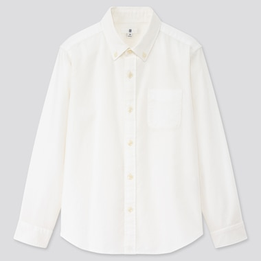 Kids Oxford Long-Sleeve Shirt (Online Exclusive), Off White, Medium