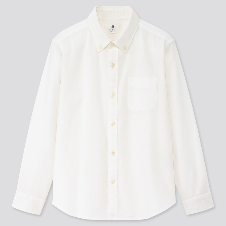 Kids Oxford Long-Sleeve Shirt (Online Exclusive), Off White, Large