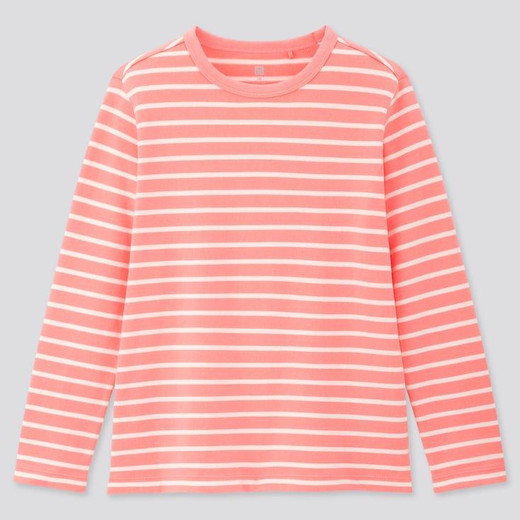 Kids Striped Crew Neck Long-Sleeve T-Shirt, Pink, Large